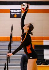 Zuzanna Buchnajzer (12) of Tenafly serves during the girls volleyball match between Tenafly and Pascack Valley at Tenafly High School in Tenafly, NJ on Saturday, April 10, 2021.