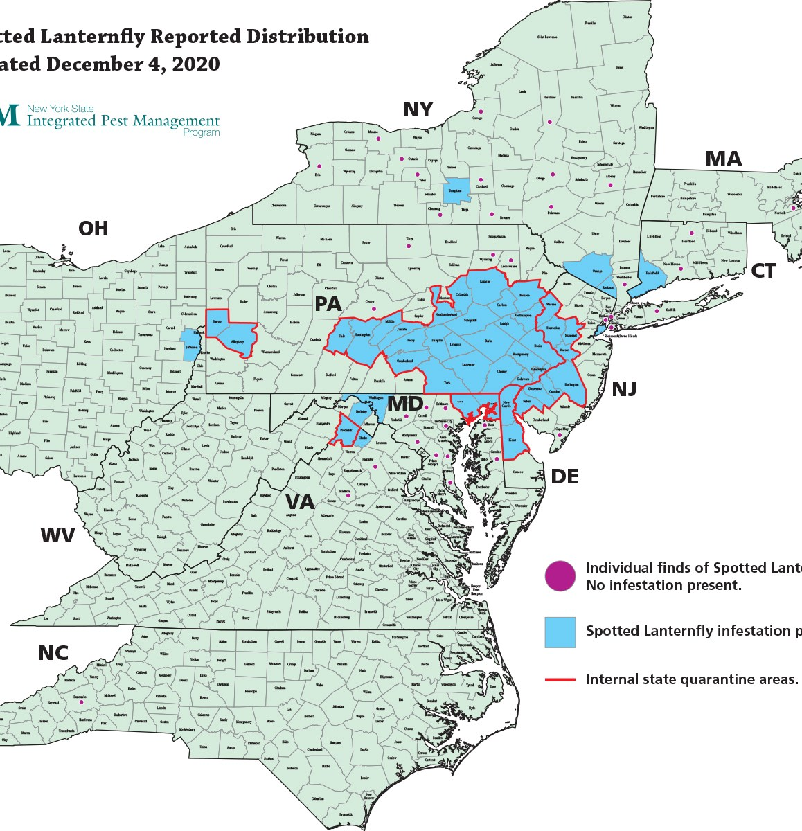 spotted lanternfly distribution & quarantine areas