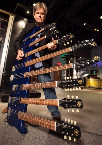 "An eight-neck guitar is one of the most unusual instruments on display in the Liberty Science Center's ""Guitar: The Instrument That Rocked the World"" exhibit."