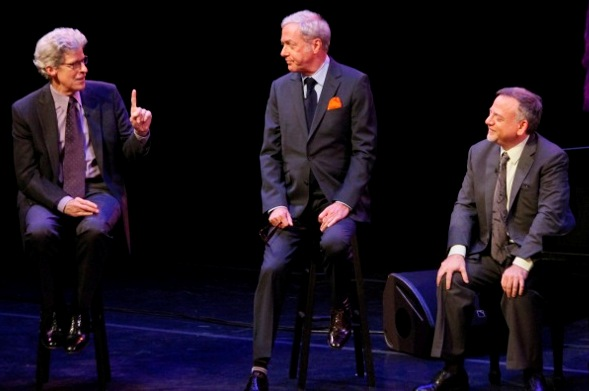 """From left, host Ted Chapin and songwriters Scott Wittman and Marc Shaiman on the episode of """"American Songbook at NJPAC"""" that airs tonight on NJTV."""