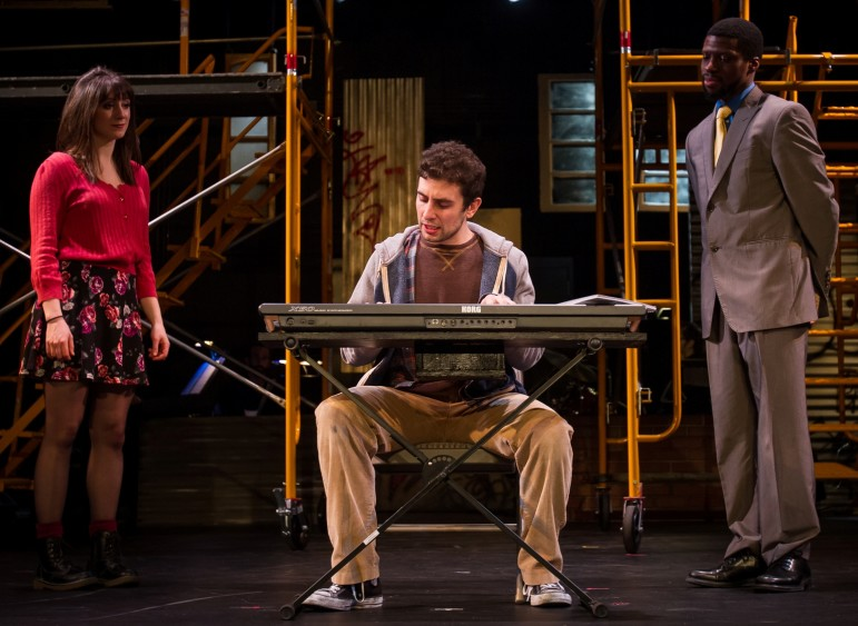 """From left, Shannon O'Boyle, Nicholas Park and Michael Luwoye co-star in """"tick, tick… BOOM!"""" at the Hamilton Stage in Rahway through Feb. 8."""