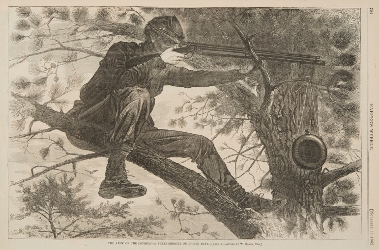 """""""The Army of the Potomac: A Sharp Shooter on Picket Duty,"""" a 1862 wood engraving by Winslow Homer."""