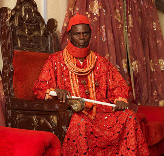 George Osodi's photograph of HRM Pere Donokoromo II, the Pere of Isaba Kingdom, is currently on display at the Newark Museum.