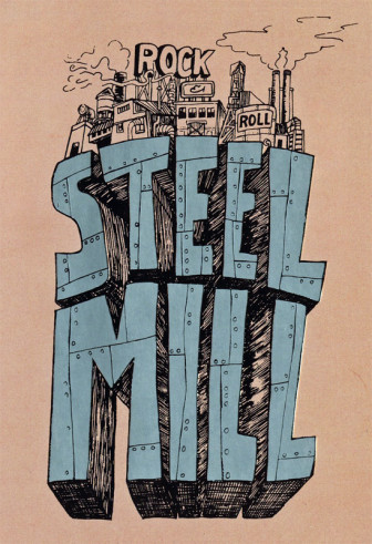 The logo for Bruce Springsteen's pre-E Street Band group, Steel Mill.