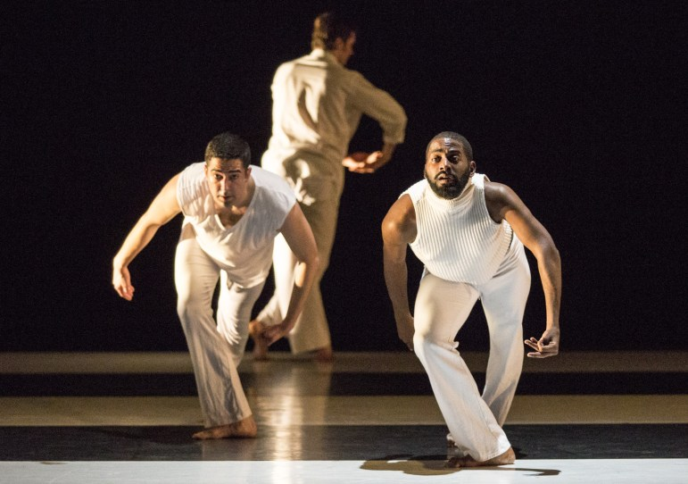 "Gregory Youdan, Jr., Brynt Beitman and Jerron Herman dance in ""Somewhere."""