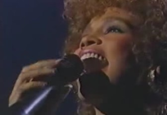 """Whitney Houston sings """"The Greatest Love of All"""" at the 1987 Grammys."""