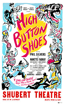 "A poster advertising the 1947 musical, ""High Button Shoes."""