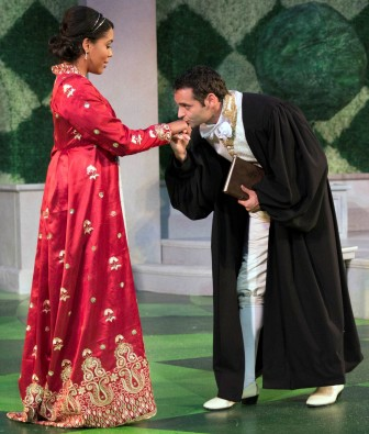 "The King of Navarre, played by Jonathan Raviv, falls in love with the Princess of France, played by Jesmille Darbouze, in ""Love's Labour's Lost."""