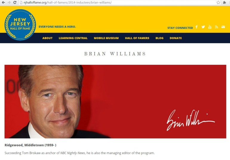 The New Jersey Hall of Fame's web page for 2014 inductee Brian Williams, as of the morning of June 27.