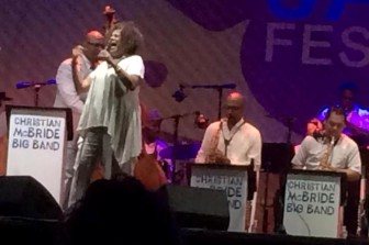 Melissa Walker sings with the Christian McBride Big Band at the Montclair Jazz Festival.