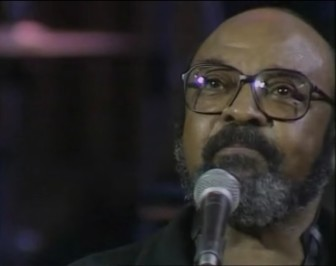 "James Moody, during a performance of ""Moody's Mood for Love,"" in 1989."