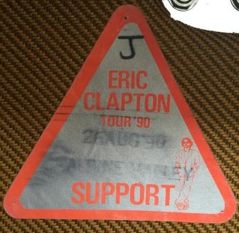 """Mike Lustig's backstage pass for the Eric Clapton concert at Alpine Valley, Wisconsin, on Aug. 26, 1990, after which Stevie Ray Vaughan died. The """"J"""" stands for Lustig's band, Janata."""