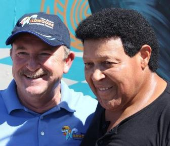 Chubby Checker, right, with Greater Wildwoods John Siciliano, on Monday.