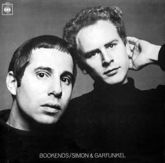 "Paul Simon and Art Garfunkel on the cover of their 1968 album, ""Bookends."""