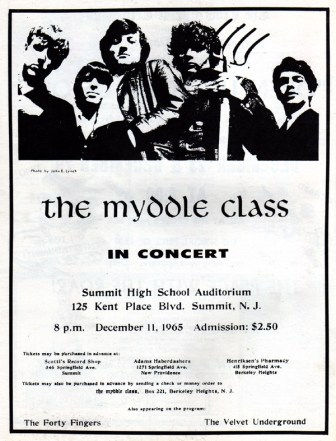 A flyer advertising the Myddle Class concert at Summit High School in December 1965. Note the mention of The Velvet Underground in the lower right-hand corner.