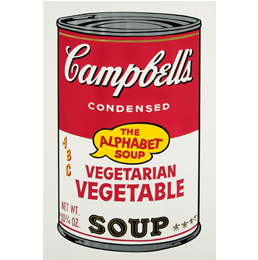 "Andy Warhol's screenprint, ""Vegetarian Vegetable from Campbell's Soup II"" will be part of"