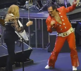 "Nick Ferraro, ""The Philly Elvis,"" dances with Soozie Tyrell at The Spectrum in Philadelphia, Friday night."