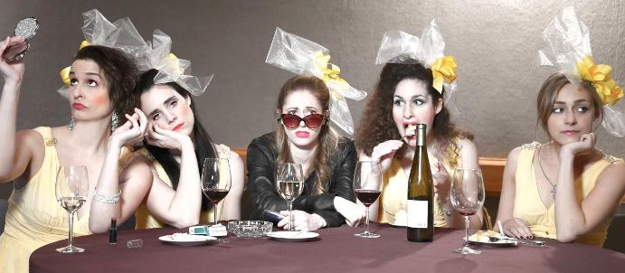 """From left, Andrea Prendamano, Mandy Evans, Danielle Manente, Larissa Lamont and Jennifer Robbins co-star in """"Five Women Wearing the Same Dress,"""" which is at the Hackensack Cultural Arts Center through April 17."""