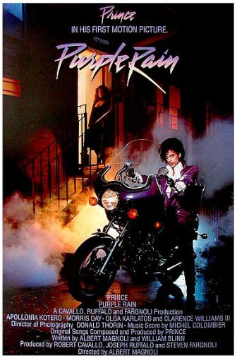 "The poster for Prince's movie, ""Purple Rain."""