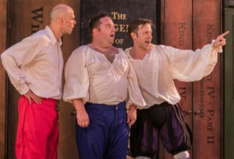 """From left, Patrick Toon, Connor Carew, Jon Barker co-star in """"The Complete Works of William Shakespeare (abridged) (revised),"""" which is at the outdoor stage of the Shakespeare Theatre of New Jersey, at the College of St. Elizabeth in Morris Township, through July 31."""