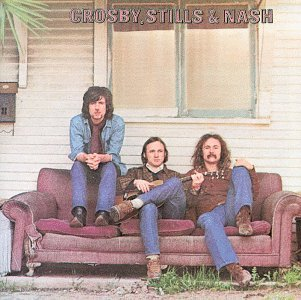 From left, Graham Nash, Stehen Stills and David Crosby on the iconic cover of their 1969 debut album.