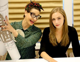 """Andrea Prendamano, left, and Jennifer Robbins co-star in """"What We're Up Against,"""" which is at the Hackensack Cultural Arts Center through Oct. 2."""