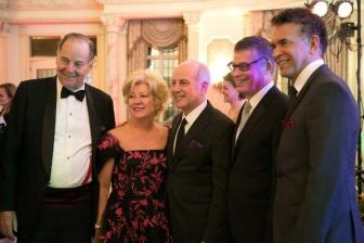 From left, former Gov. Tom Kean, NJ Theatre Alliance trustees Carol Herbert (of the New Jersey State Council on the Arts) and Joseph Benincasa (of The Actors Fund), NJ Theatre Alliance executive director John McEwen and Brian Stokes Mitchell.