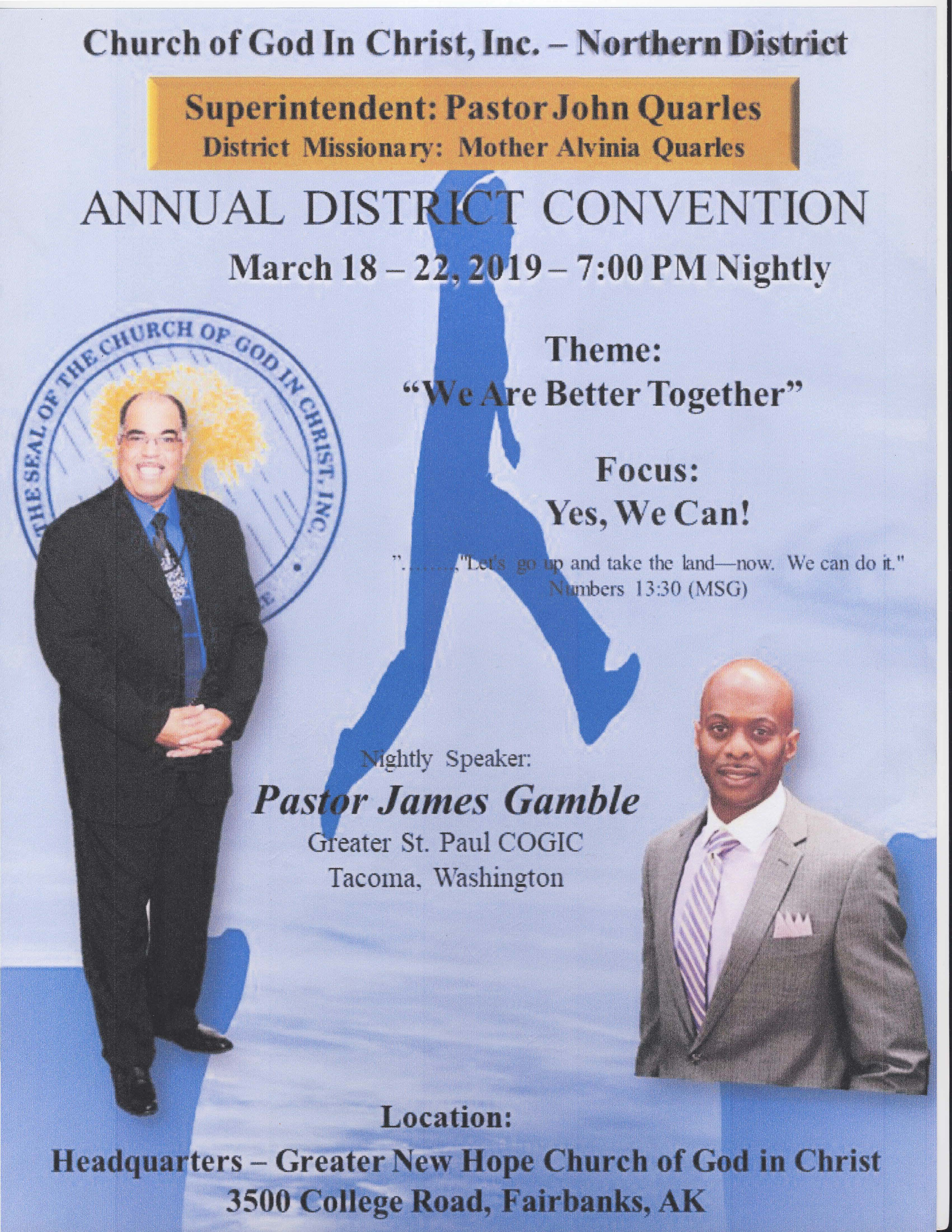 Northern District Convention (7:30pm, nightly) – New Jerusalem COGIC
