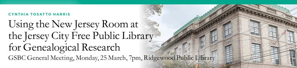 Using the New Jersey Room at the Jersey City Free Public Library for Genealogical Research @ Ridgewood Public Library | Ridgewood | New Jersey | United States
