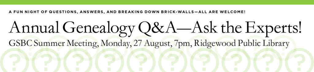 Annual Genealogy Q&A @ Ridgewood Public Library | Ridgewood | New Jersey | United States