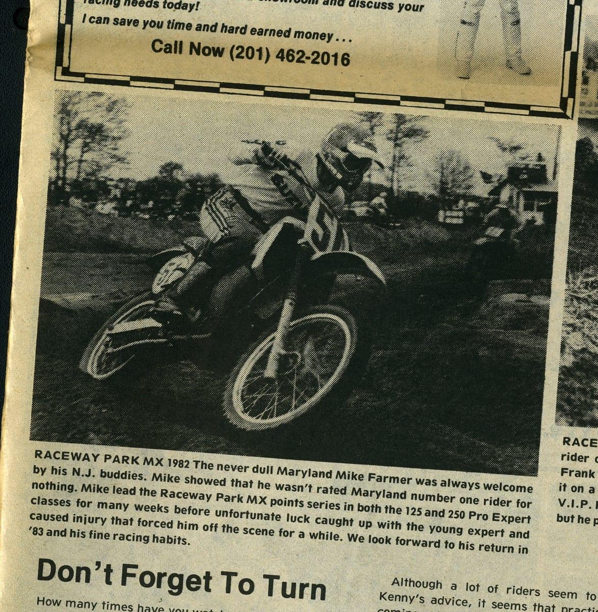 Mike Farmer Raceway News Flashback 1982