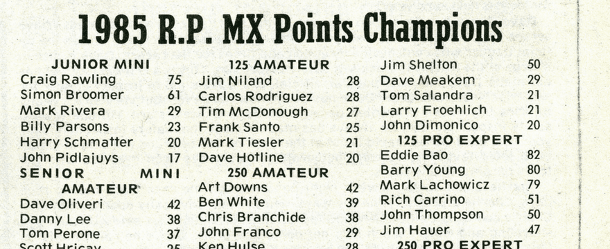 Raceway Park Final Points 1985