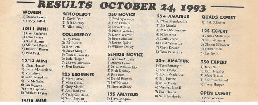 Powerline Park Results 10/24/93