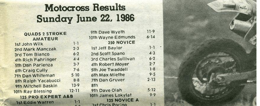 Raceway Park Results 6/22/86