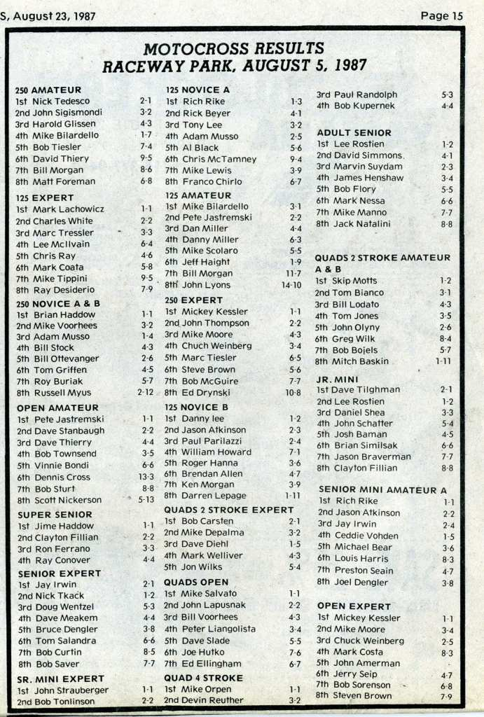 raceway park results 8/5/87