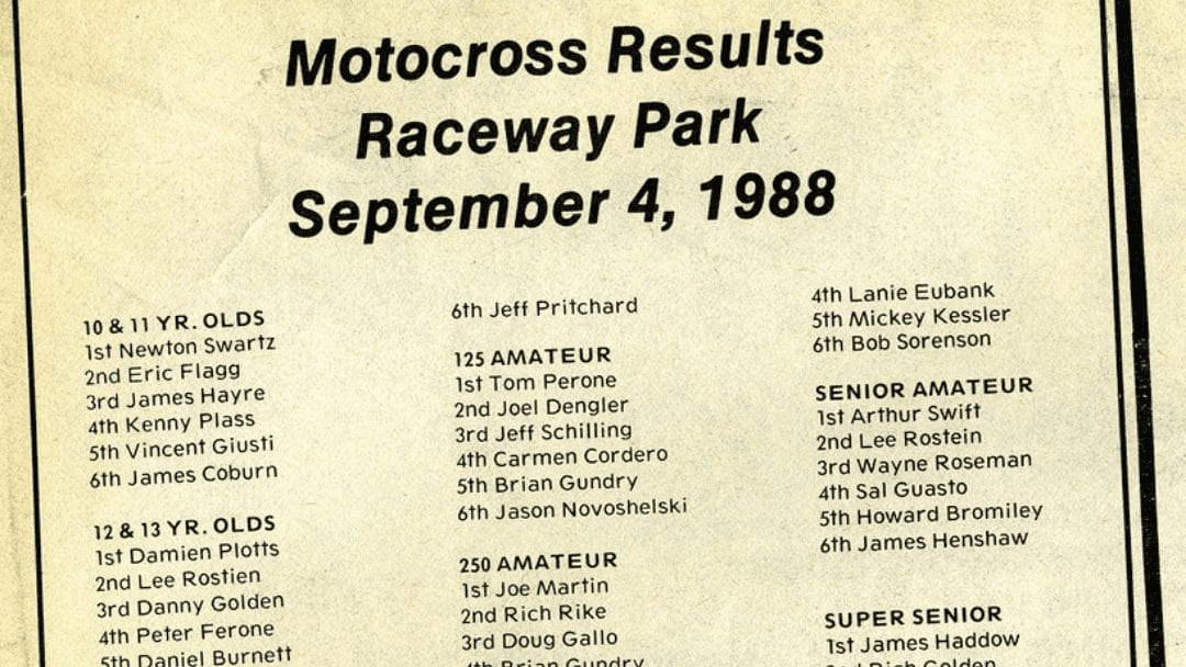 Raceway Park Results from 9/4/88