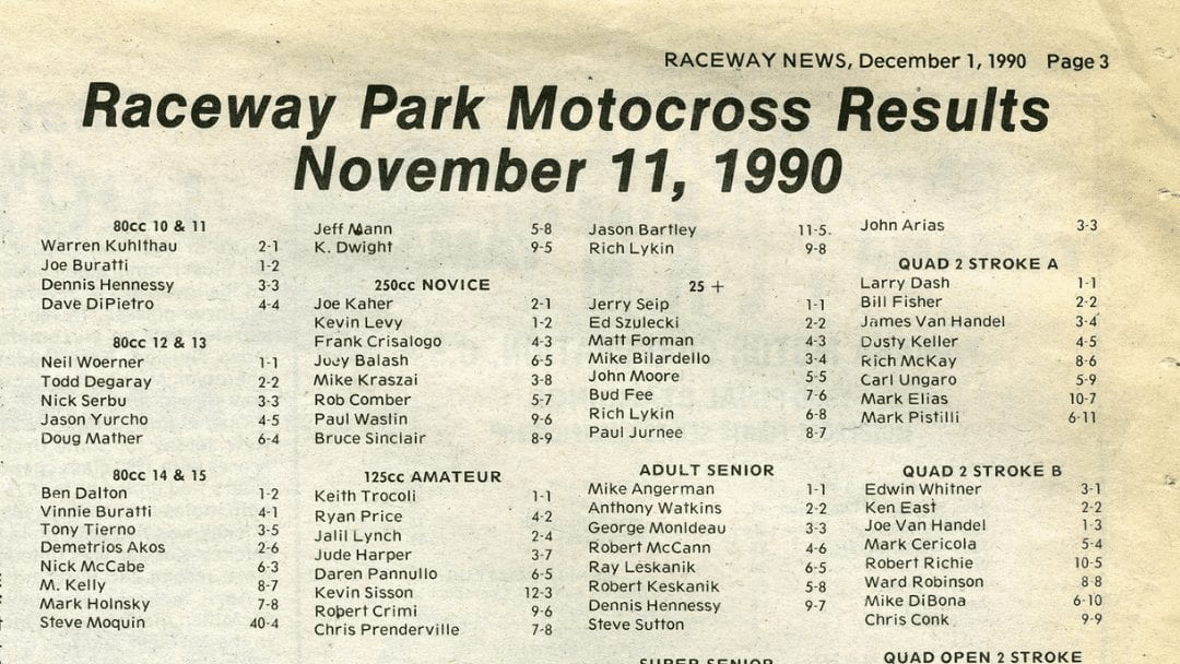 Raceway Park Results from 11/11/90