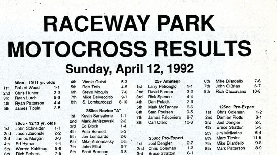 RACEWAY PARK RESULTS FROM 4/12/92