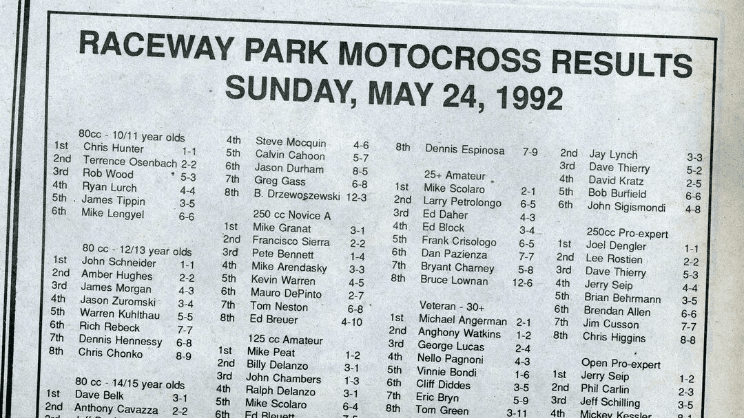 Raceway Park Results from 5/24/92