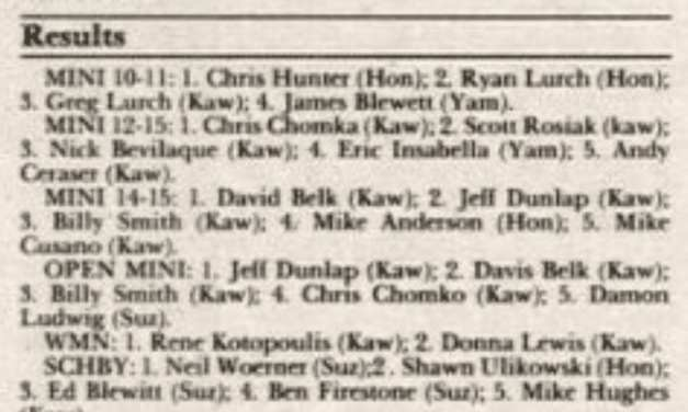 Powerline Park Results from 5/3/92