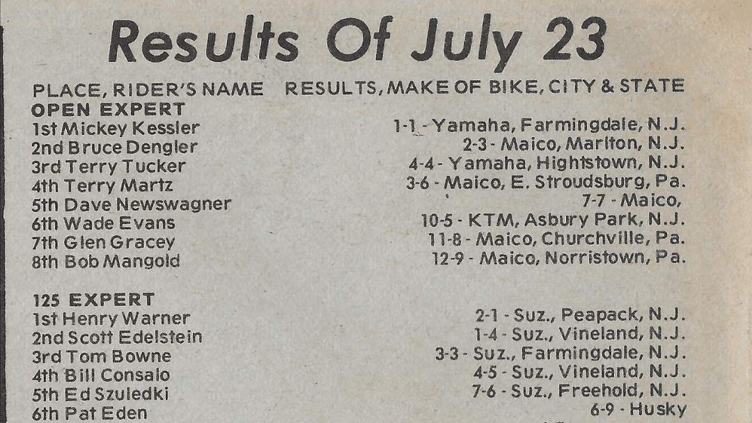 Raceway Park Results from 7/23/78