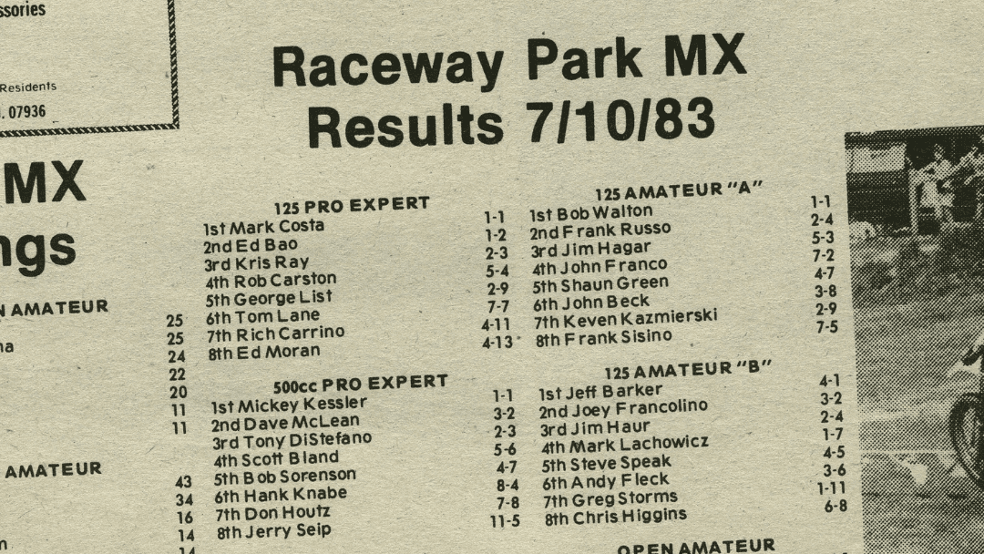 Raceway Park Results from 7/10/83