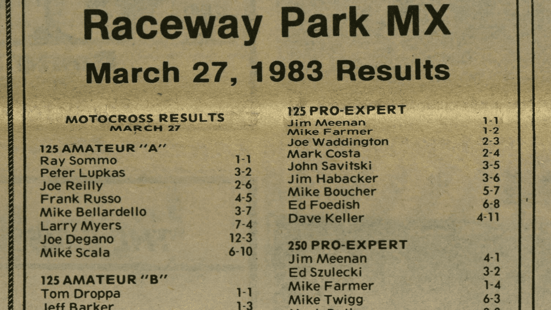 Raceway Park Motocross Results from 3/27/83