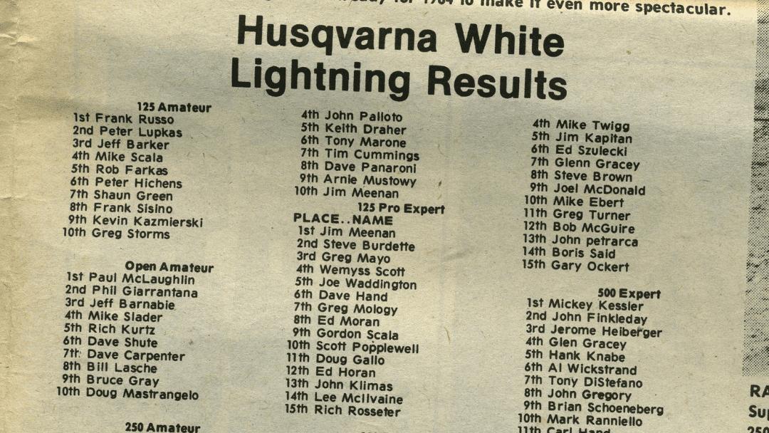 Husqvarna White Lightning Supercross Results – 1983