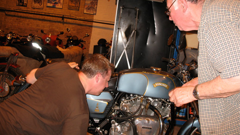 Sid and Stephen Pate of Restoration Werks eye the fancy Vincati, only one in the world