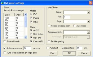 MixW Cluster Setup dialog box