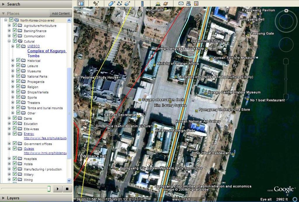 Uma parte do dito mapa no Google Earth (http://www.nkeconwatch.com)
