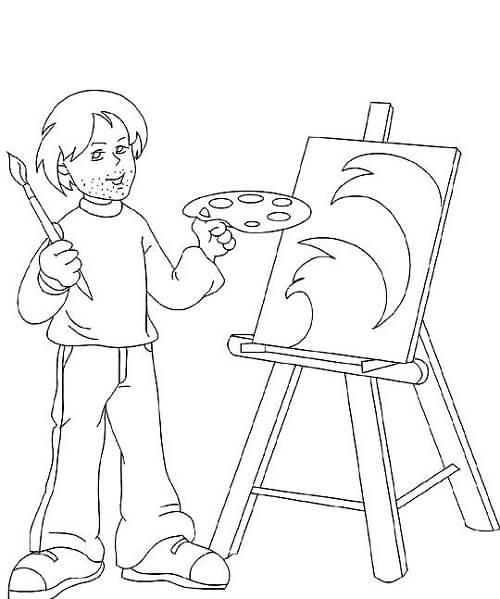 Ressam boyama sayfası