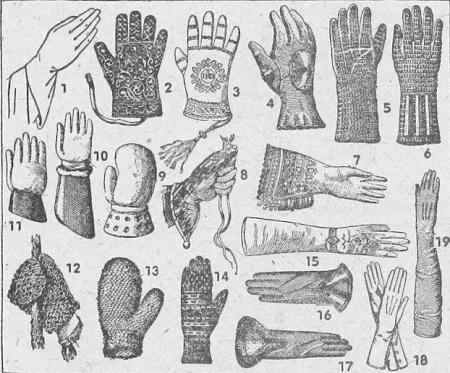 Tarihi eldivenlerden örnekler: 1 — XIII yüzyıl.; 2 — XIII. yüzyılda Viyana'da giyilen bir eldiven; 3 — XVIII. yüzyılda din adamlarının giydikleri eldiven; 4 — XIII yüzyılda zırhlı eldiven; 5 — XIII, yüzyılda kullanılan bir başka zırhlı eldiven; 6 — XIII yüzyılın diğer bir zırhlı eldiveni, 7 — XVI. yüzyılın işlemeli eldiveni; 8 — XV yüzyılda doğan, şahin gibi kuşlarla çıkılan avlarda giyilen eldiven; 9 — Eski bir boks eldiveni; 10, 11 — Eski eskrim eldivenleri; 12 Bağcı eldiveni; 13 — Kıldan örme eldiven; 14 — Yün eldiven; 15 — XVIII. yüzyıl işlemeli kadın eldiveni; 16 — Erkek eldiveni; 17 — İçi kürklü eldiven; 18, 19 — Eski kadın eldivenleri.