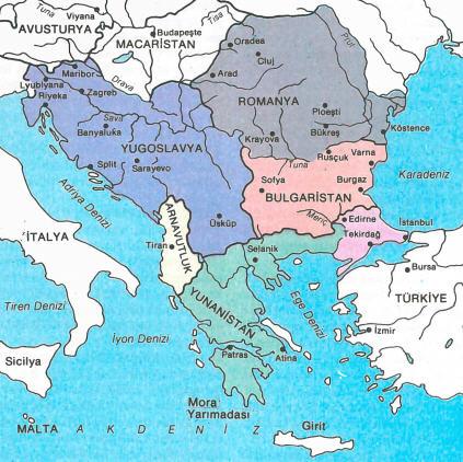 Balkan Yarımadası Haritası